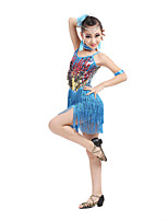 Latin Dance Dresses Children's Performance Spandex Fashion Sequins / Tassel(s) Dance Costumes with Earrings