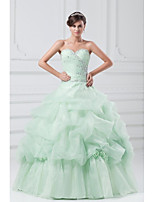 Formal Evening Dress Ball Gown Sweetheart Floor-length Organza with Crystal Detailing / Flower(s) / Pleats