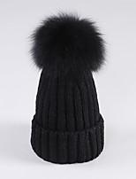 Fake Fur  Ball Women Cotton Beanie/Slouchy,Cute / Casual Fall / Winter
