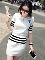 Women's Striped Red / White / Black Pullover,Street chic Short Sleeve