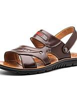 Zapatos de Hombre-Sandalias-Exterior / Casual-Semicuero-Marrón / Naranja / Caqui
