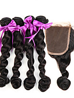 7A Brazilian Virgin Hair With Closure Loose Wave Silk Base Closure With Bundles 5 Pcs/Lot Human Hair Weave