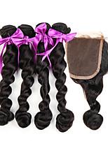 7a brasilianisches reines Haar mit Schließung der losen Welle Seide Basis Schließung mit Bündeln 5 PC / Los menschliches Haar flechten