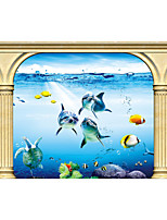 JAMMORY 3D Wallpaper Contemporary Wall Covering,Canvas Stereoscopic Large Mural The Underwater World