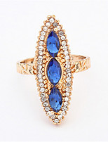 Vintage Sapphire Jewelry Blue Silver Big Long Cocktail Party Rings Fashion Personality Exaggerated Style