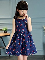 Girl's Casual/Daily Floral Dress,Cotton Summer Blue / White