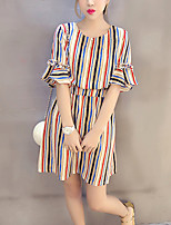 Women's Going out / Plus Size Simple Loose Dress,Striped Round Neck Above Knee ½ Length Sleeve Blue / Red Cotton Summer