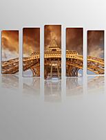 Toiles Tendues Paysage / Nature morte / Loisir Modern / Classique / Méditerranéen / Style européen,Cinq Panneaux ToileVertical