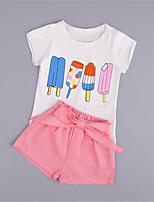 Girl's Pink Clothing Set,Print Cotton Summer