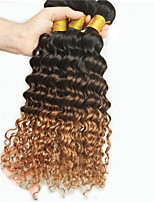3Pcs /Lot Unprocessed Human Hair Weave Bundles Brazilian Deep Wave Curly Ombre Extensions Hair T1B/4/30