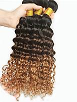 3pcs / lot não transformados tecer cabelo humano feixes onda profunda brasileira encaracolado extensões ombre cabelo T1b / 30/04