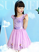 Girl's Casual/Daily Print Dress,Polyester Summer Purple / White
