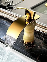 Waterfall Gold&Jade  Bathroom  Sink Faucet Single Handle Deck Mounted