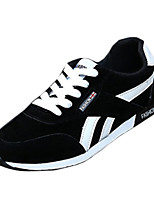 Men's Sneakers Spring Fall Comfort PU Outdoor Athletic Flat Heel Lace-up Black Blue Red Walking
