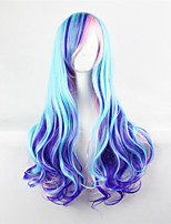 Harajuku Daily Lolita/Lolita Gradient Curly Hair Color Blue Mix Pink Cosplay wig 28inch