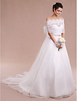 Women's Wrap Coats/Jackets Sleeveless Lace / Tulle Ivory Wedding / Party/Evening Bateau Bow / Draped / Lace