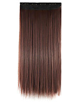 Wig Red wine 60CM High Temperature Wire Length Straight Hair Synthetic Hair Extension