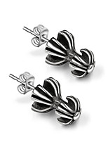 Retro Men'S Titanium Steel Single Double Cross Flowers Stud Earrings