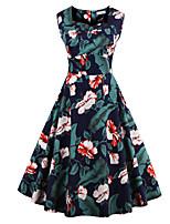 Womens Fashion Elegant Printed Vintage Style Swing Rockabilly Party Dress
