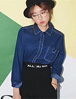 Women's Going out Street chic Blouse,Solid Shirt Collar Long Sleeve Blue Cotton Medium