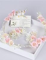 מסרקי שיער / זרי פרחים כיסוי ראש נשים חתונה / אירוע מיוחד / קז'ואל / חוץ פנינה / בד חתונה / אירוע מיוחד / קז'ואל / חוץ 3 חלקים
