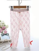 Girl's Pink / White Leggings,Color Block Polyester Summer