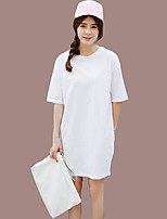 Women's Solid White T-shirt,Round Neck ½ Length Sleeve