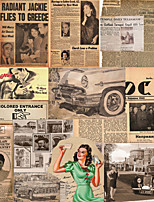 JAMMORY Art Deco Wallpaper Retro Wall Covering,Canvas Large Mural  Wall Newspaper