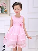 Girl's Print Dress,Rayon Summer Pink / Purple / Yellow