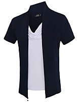 Men's Fashion Personality Color Block Fake Two Slim Fit Short Sleeve T-Shirt, Cotton /Polyester