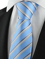 KissTies Men's Tie Light Blue Gray Striped Wedding/Business/Party/Work/Casual Necktie With Gift Box