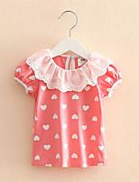 Baby Girls Hollow Lace Short-Sleeved Heart Printed T-Shirt Bottoming Ruffle Shirt