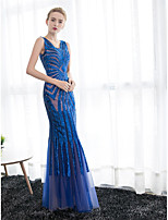 Formal Evening Dress Trumpet / Mermaid V-neck Ankle-length Satin / Tulle with Sequins