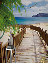 JAMMORY Art Deco Wallpaper Contemporary Wall Covering,Canvas Stereoscopic Large Mural Scenic Seaside Boardwalk