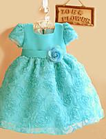 Girl's Blue Dress,Jacquard Polyester Summer