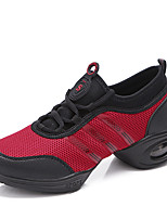 Women's Dance Shoes Leatherette / Fabric Leatherette / Fabric Dance Sneakers Split Sole Chunky Heel PerformanceBlack