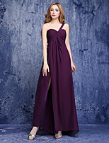 Floor-length Chiffon Bridesmaid Dress-Grape A-line One Shoulder