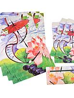 antigua carta conjunto envolvente (3 sobre 6 artículos de papelería, artículos de papelería envolvente 8.6 * 17.6cm, 18.5 * 26cm, patrón