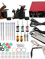 professionele en complete 2 pistool tattoo machine kit 3 stuks inkt voeding naald grips tips