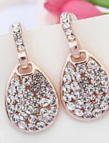 2015 New Women's Vintage Luxury Oval Rhinestone Statement Drop Ear Studs Earrings Jewelry