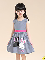 Girls Fashion Girls Dress Blue Stripes Rabbit Belt Cotton Party Birthday Baby Kids Clothing