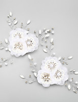 Mulheres / Menina das Flores Strass / Liga / Chifon Capacete-Casamento / Ocasião Especial Flores 2 Peças Branco Redonde