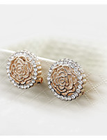 Women's Noble and Elegant Style of Peony Circular Hollow Diamond Earrings