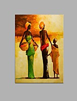 Hand-painted Abstract African women Oil Painting Home Restaurant Decor with Stretched Frame