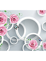 JAMMORY Floral Wallpaper Contemporary Wall Covering,Canvas Stereoscopic Large Mural  Pink Roses Butterfly
