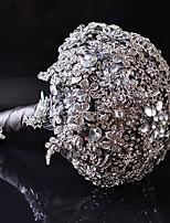Ramos de Flores para Boda Ronda Lilas Ramos Boda Plata Satén / Seda / Abalorio / Cristal / Diamantes Sintéticos / Metal Aprox.23cm