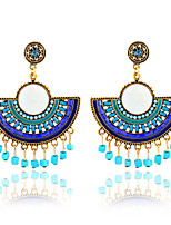 Bohemian Sector Beads Flowers Tassel Earrings