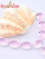 Newest Fire Oval Pink Topaz Green Quartz Gem 925 Silver Chain Necklaces For Wedding Party Daily 1pc