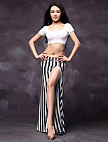 Belly Dance Dress Women's Performance Cotton / Modal Split Front 3 Pieces  Black / White / Zebra Colors