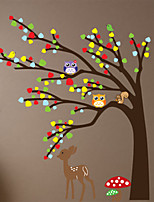 Animals Deer and Owl Wall Stickers Romance / Shapes Wall Stickers Plane Wall Stickers,pvc 60*90cm